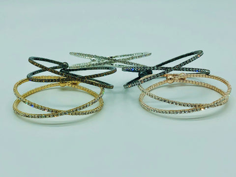 DOUBLE CRYSTAL BANGLE-GOLD