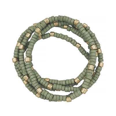 ZANZIBAR WOOD BEAD STRETCH BRACELET-SAGE