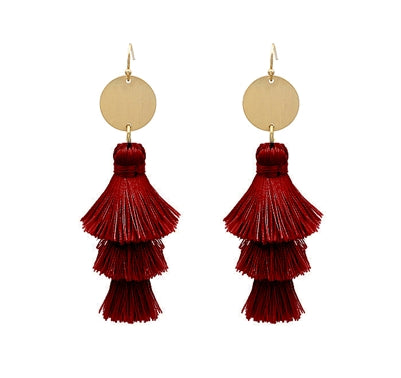CHA-CHA-CHA TASSEL EARRINGS-BURGUNDY