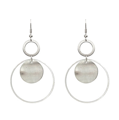 TWO MOON DROP EARRINGS-SILVER