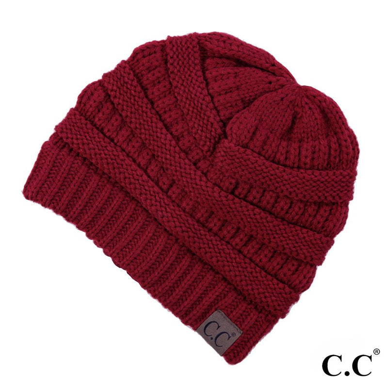 CC BEANIE RIBBED KNIT HAT CRANBERRY