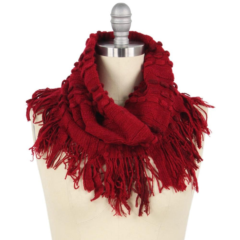 STITCH KNIT INFINITY SCARF WITH FRINGE