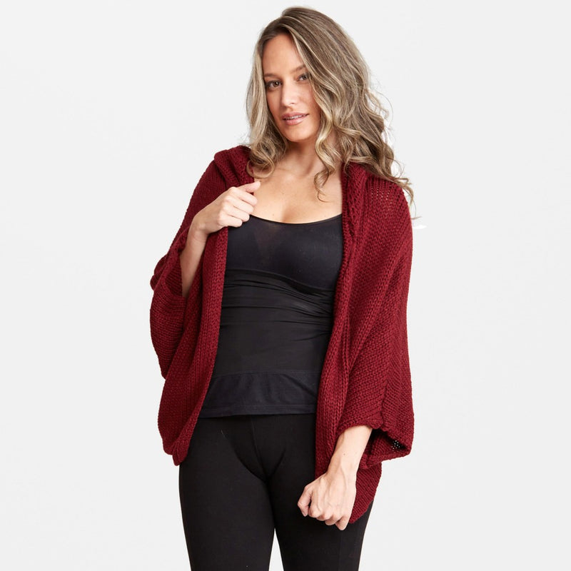 LIGHTWEIGHT DOLMAN SLEEVE KNIT CARDIGAN WITH HOOD