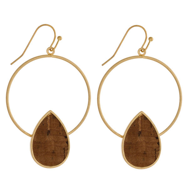 SHADES OF CORK HOOP EARRINGS