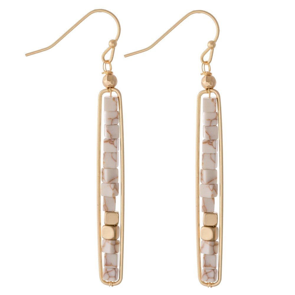 STONE BLOCK BAR EARRINGS