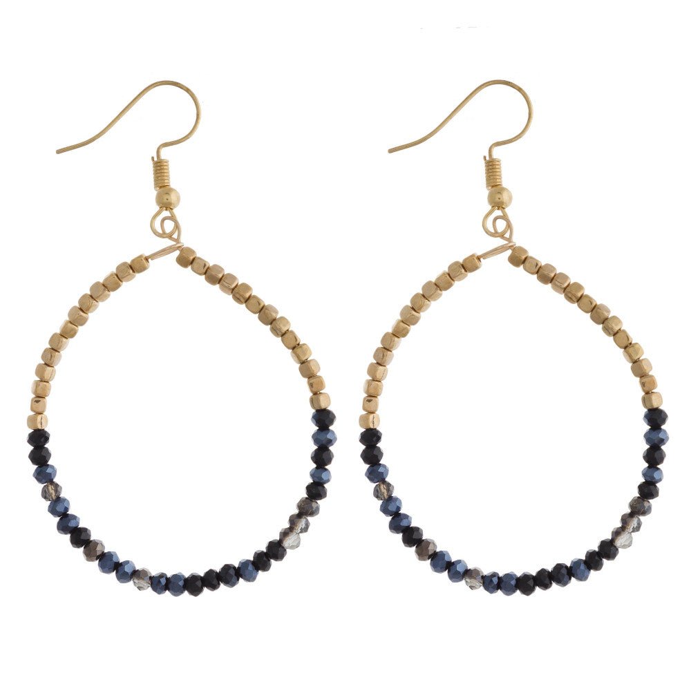BLACK TO BLUE BEADED TEARDROP EARRINGS