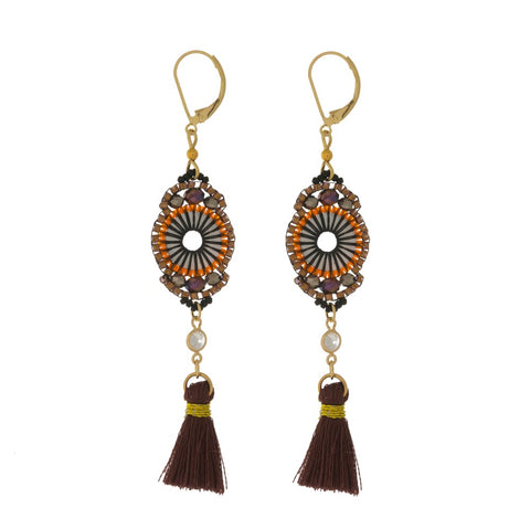 AT THE GREEK EARRINGS-BURGUNDY