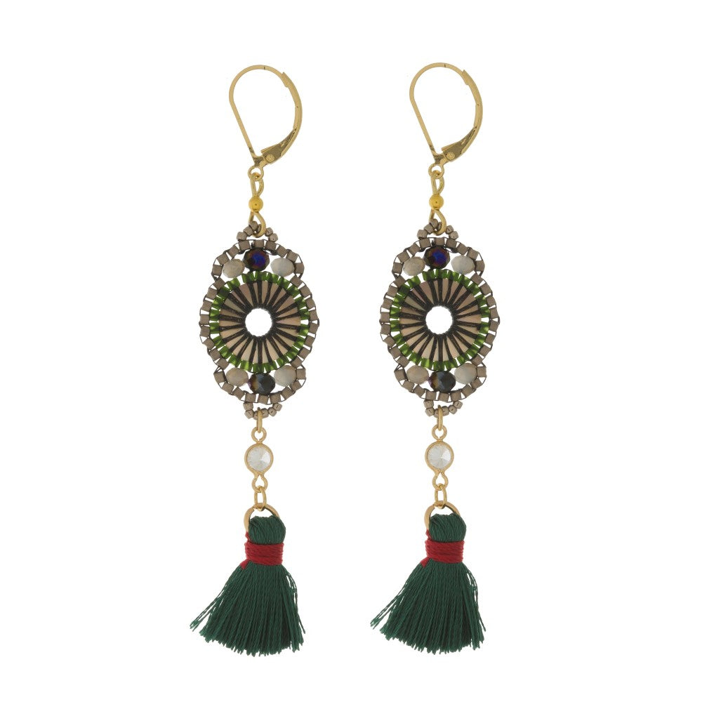 EYE OF BEHOLDER BEADED TASSEL EARRINGS