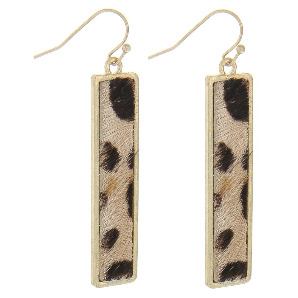 BAR NONE LEOPARD EARRINGS