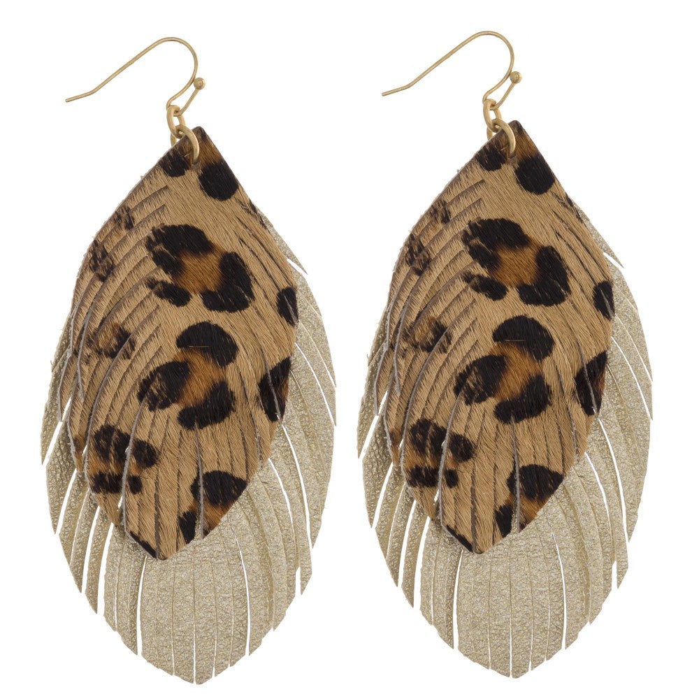 LEO DOUBLE FEATHER EARRINGS