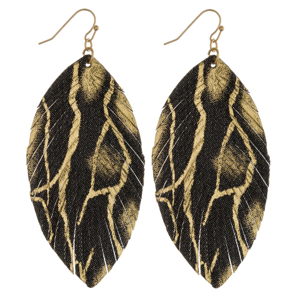 MIXED METAL FEATHER EARRINGS- HEMATITE