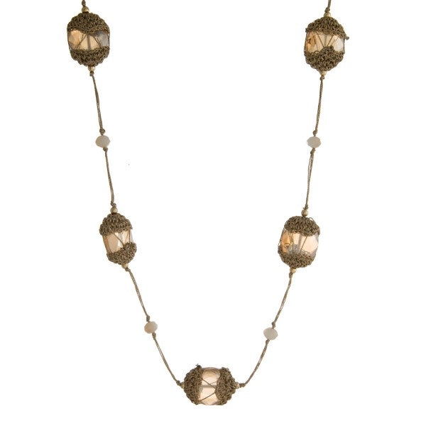 METALLIC LANTERN NECKLACE-GOLD