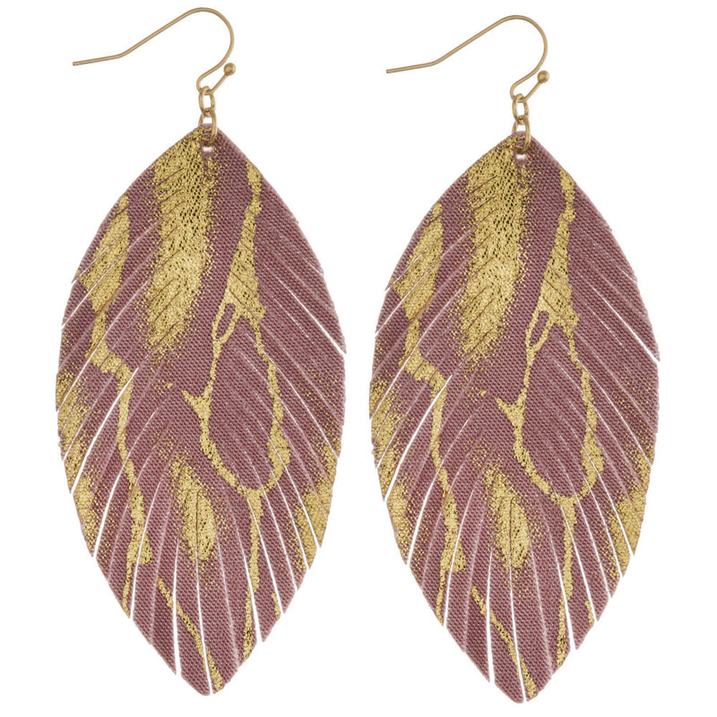 MIXED METALS FEATHER EARRINGS-MAUVE