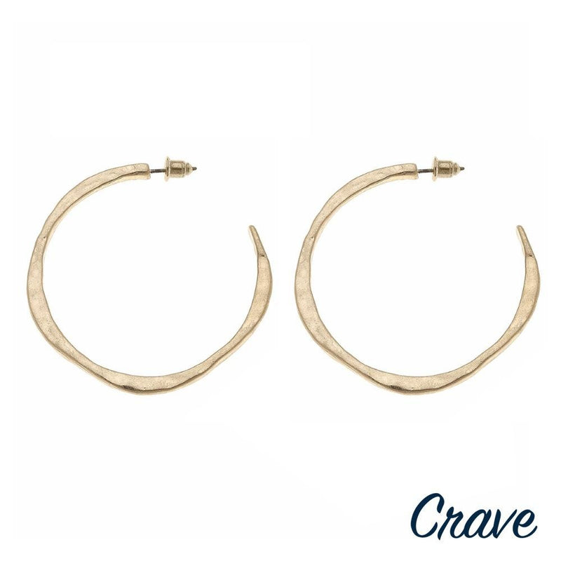 WAVE CRAVE OPEN HOOP EARRINGS-GOLD