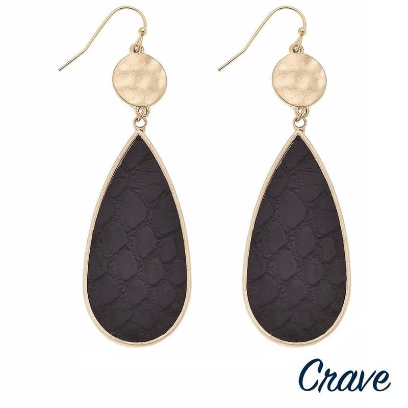SELA TEARDROP DANGLE EARRINGS-BLACK
