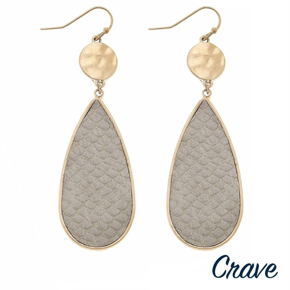 SELA TEARDROP DANGLE EARRINGS-GRAY