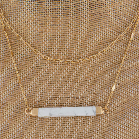 Y LAYERED NECKLACE-SILVER