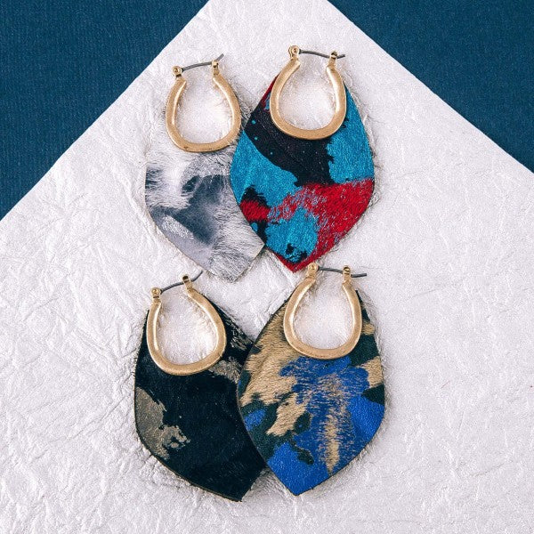 METALLIC FUR EARRINGS-RED MULTI