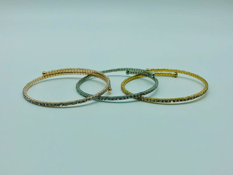 SINGLE CRYSTAL BANGLE-SILVER