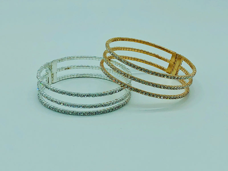 TRIPLE CRYSTAL BRACELET-GOLD