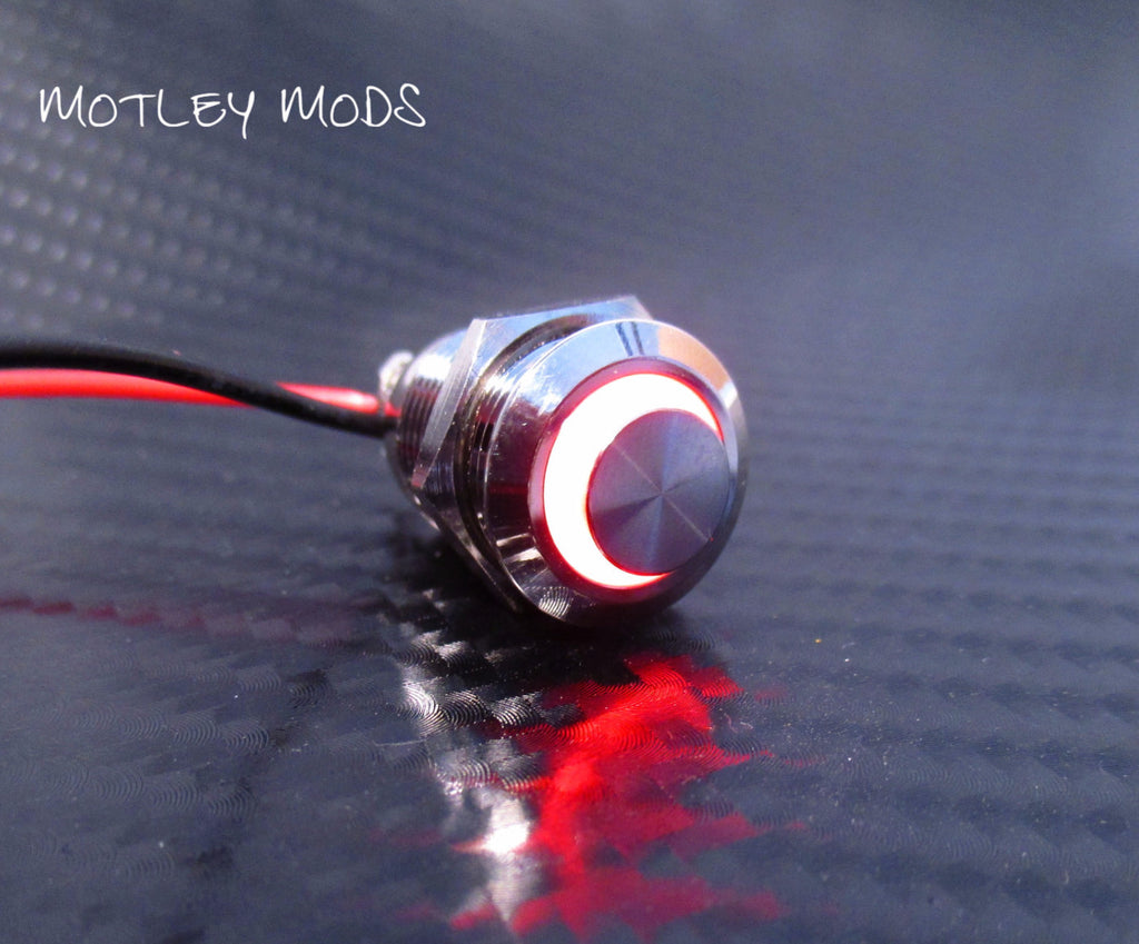 12mm Push Button High Red Led - Motley Mods - 1