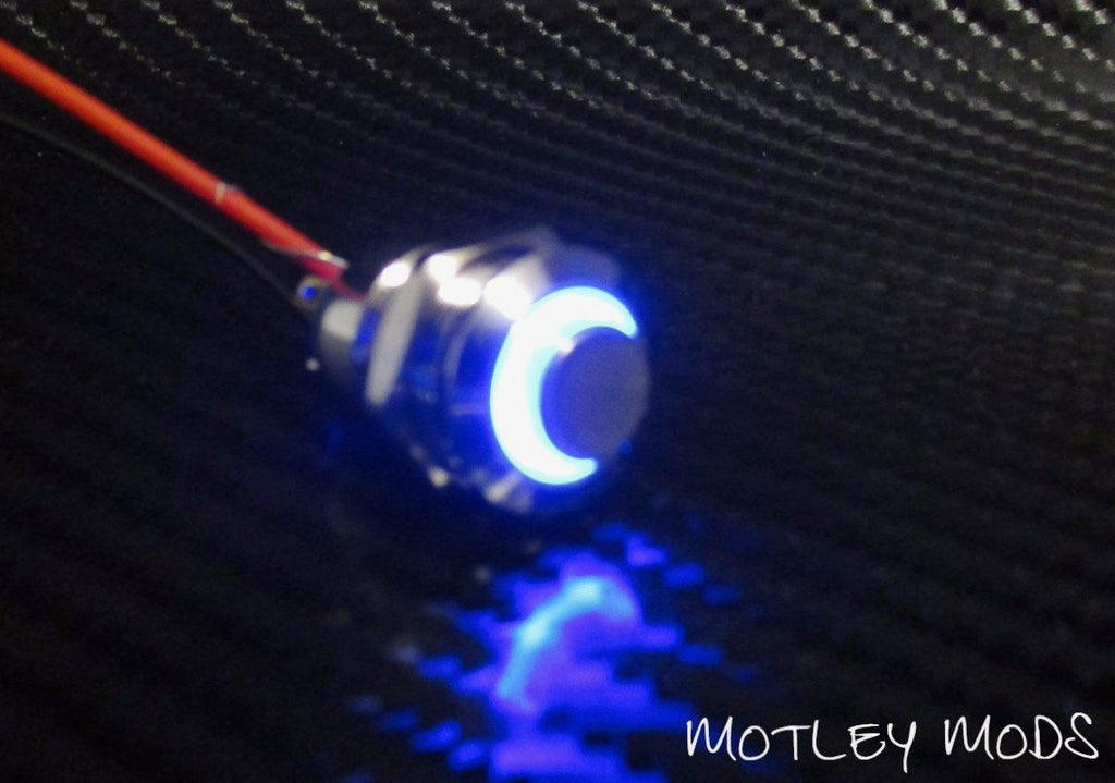 12mm Push Button High Blue Led - Motley Mods - 1