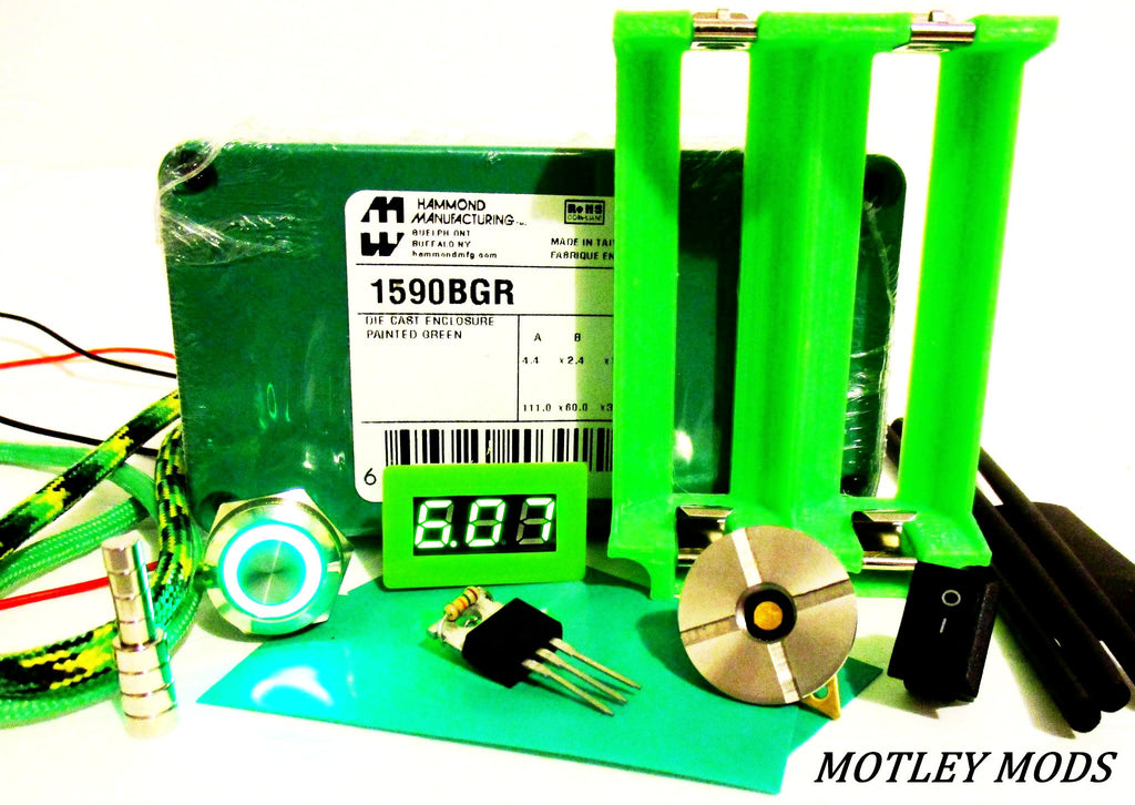 Box Mod kit 1590B Green 3D 26650 - Motley Mods - 1