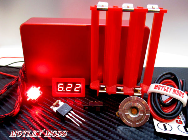 Box Mod kit CNC B-Triple,Red Led - Motley Mods - 2
