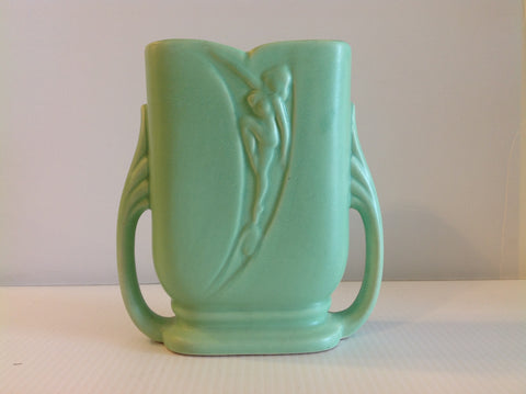 Unusual Green Art Deco Pottery Vase My Clutter