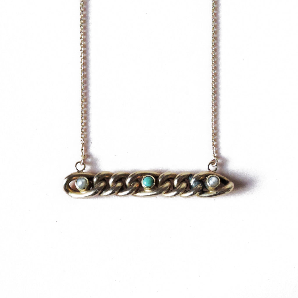 Pearl and Turquoise Gold Necklace
