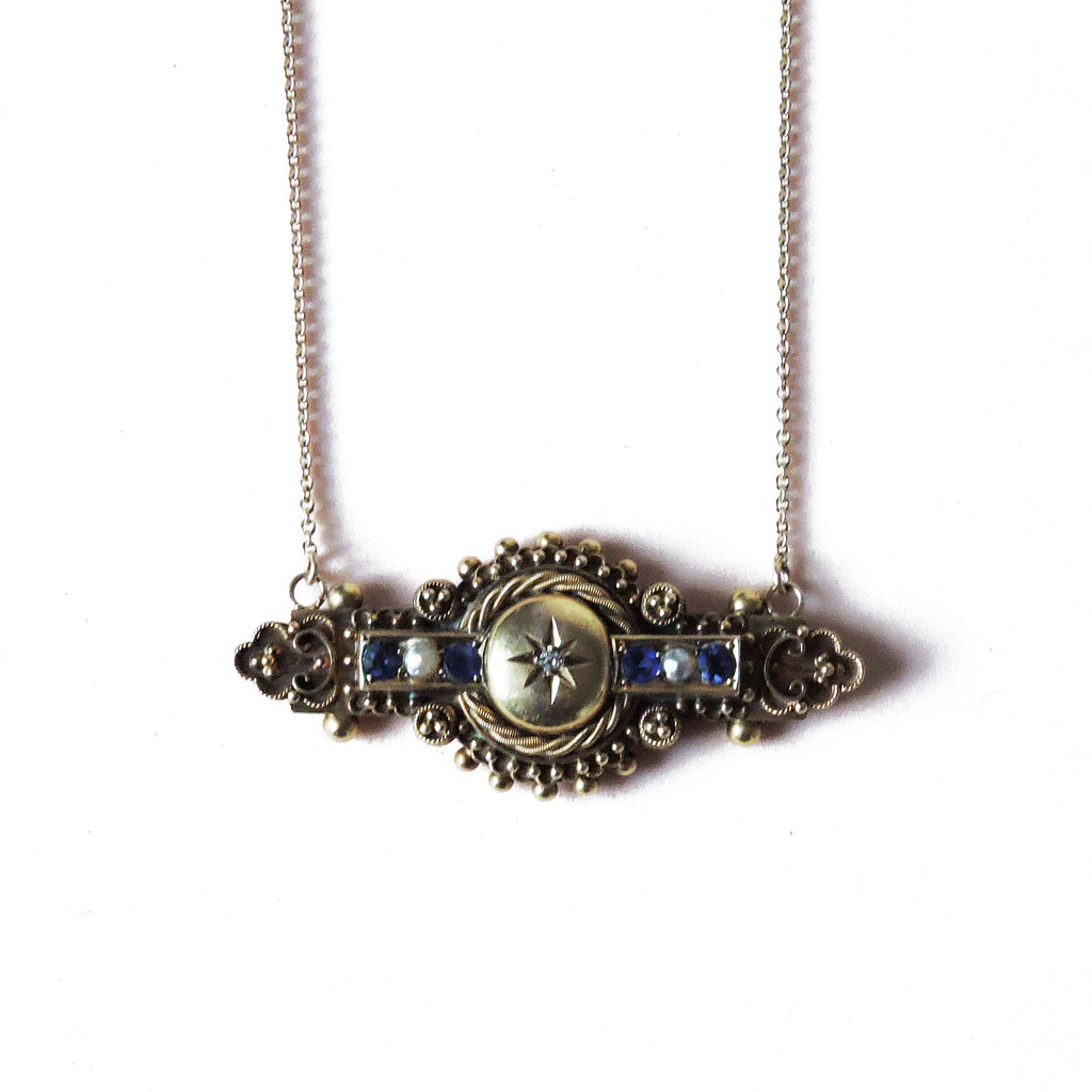 Sapphire and Pearl Diamond Starburst Necklace