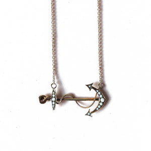 Gold and Pearl Anchor Necklace