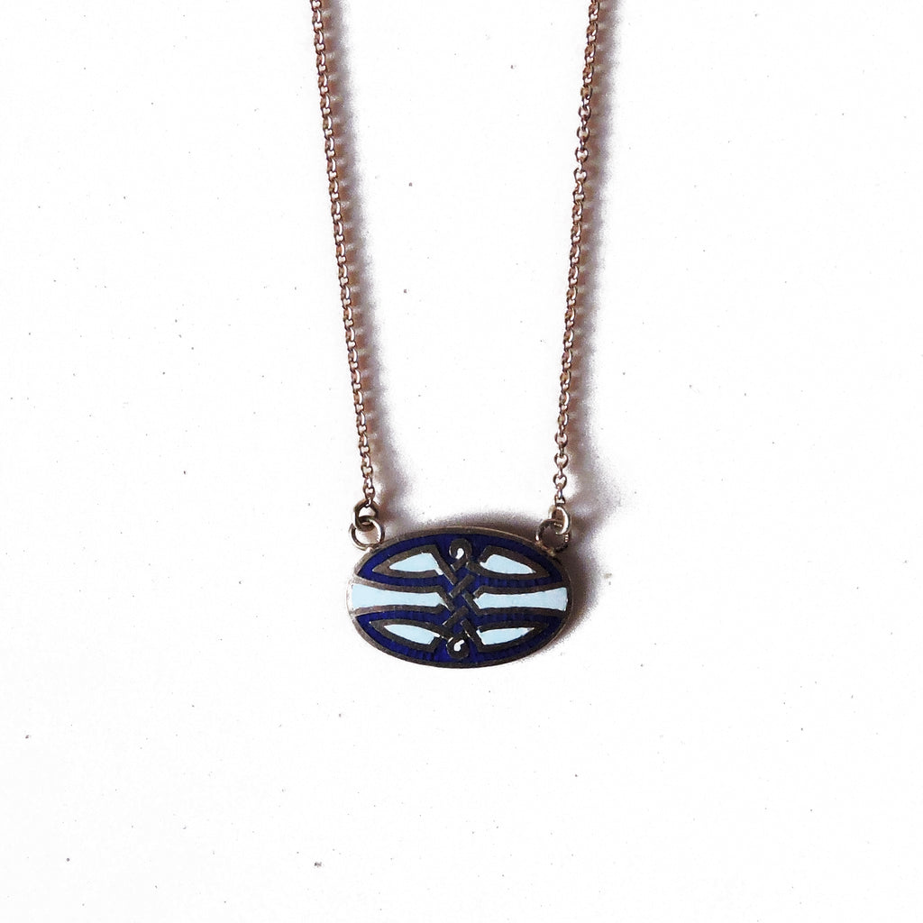 Blue and White Enamelled Rose Gold Necklace