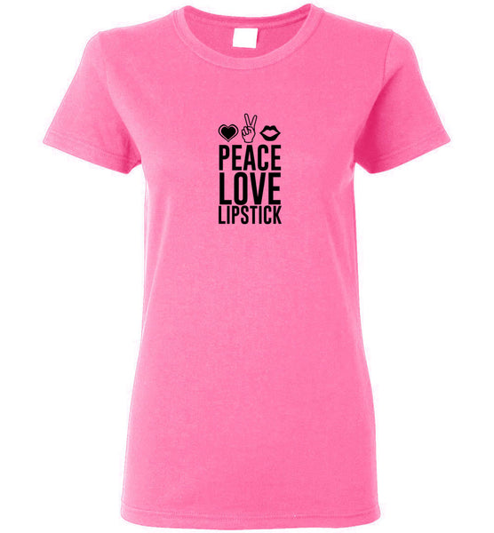 Peace Love Lipstick - Ladies Short-Sleeve Tee