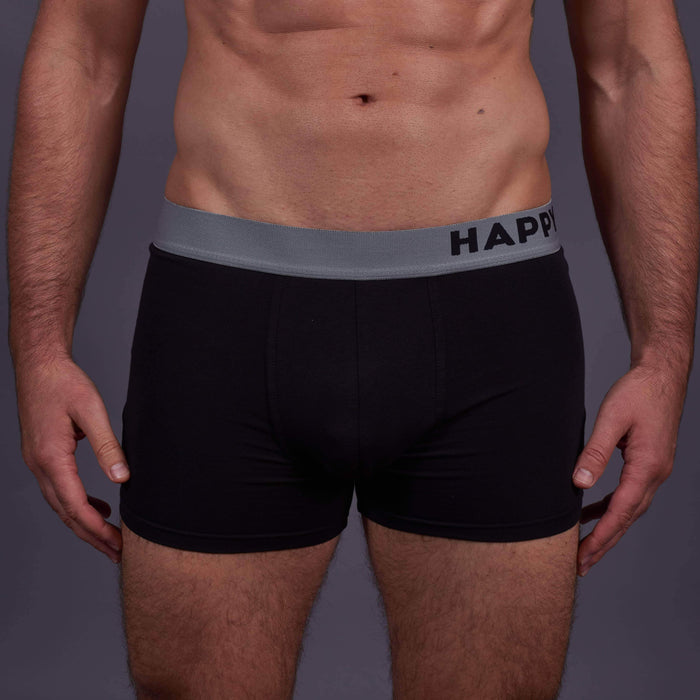 Happy Shorts 3 Pack Happy Shorts Cotton Trunks - Black/Squares/Black £10.00
