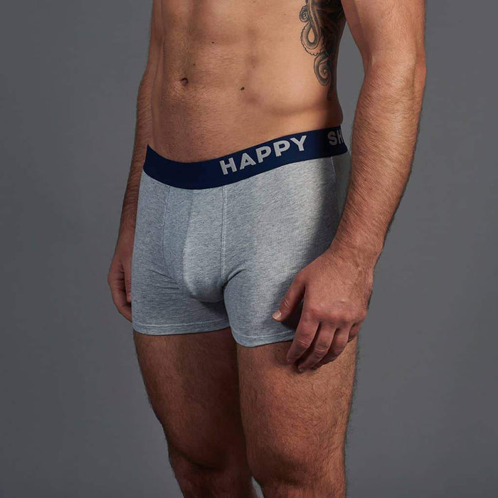 3 Pack Happy Shorts Cotton Trunks - Grey/Navy/Geometric