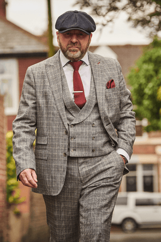 Alan's Peaky Blinders Look harry-brown-grey-prince-of-wales-check-suit / guide-london-white-cotton-blend-shirt-with-contrast-navy-collar / knightsbridge-neckwear-burgundy-knitted-tie