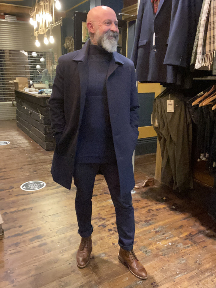 All Navy Look skopes-fairlop-navy-overcoat / pearly-king-earthling-navy-low-turtle-neck-jumper / mish-mash-1984-bromley-navy-chino