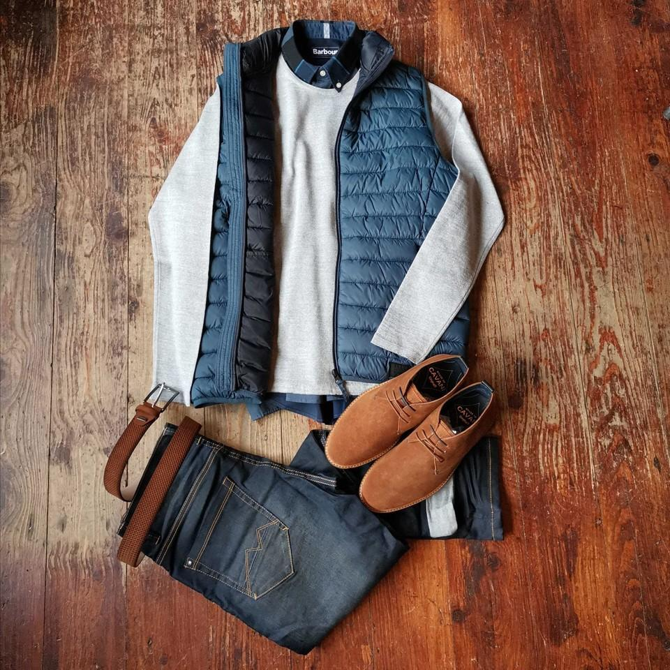 Barbour & Blend Gillet Look blend-blue-gilet / casual-friday-light-grey-crew-neck-wool-jumper / barbour-sutherland-inky-blue-cotton-check-shirt
