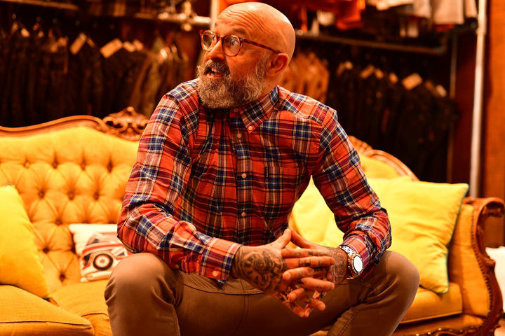 Barbour & Chinos Sunday look barbour-highland-red-check-tailored-shirt / blend-granite-chinos / cavani-tan-tweed-brogue-boots