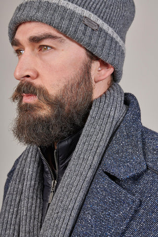 Barbour Grey Cromer Beanie & Scarf Set