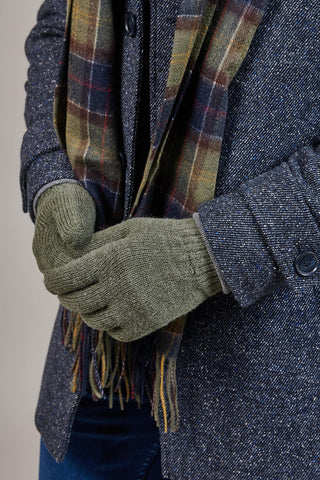 Barbour Olive Scarf And Glove Gift Set