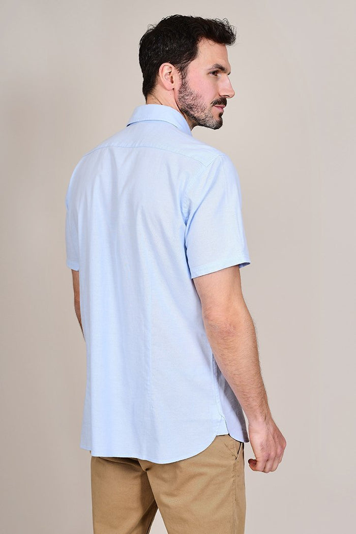 Barbour Oxford Short Sleeved Sky Blue Shirt