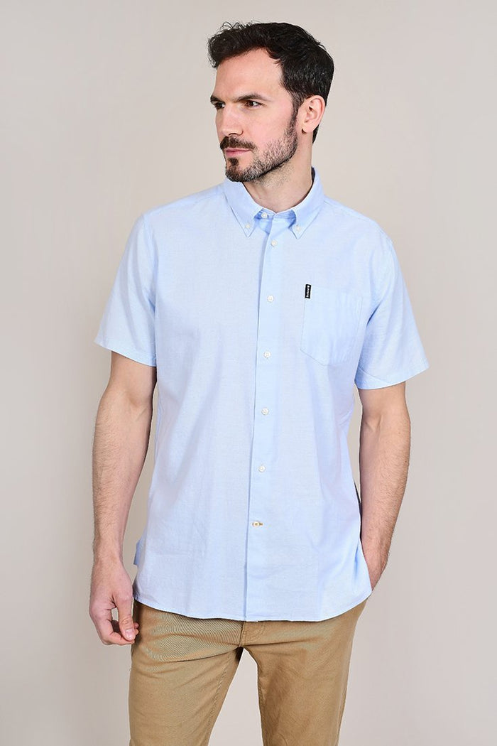 Barbour Oxford Short Sleeved Sky Blue Shirt S