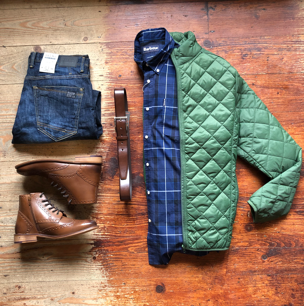 Barbour Shirt, Jacket & Jeans barbour-sandwood-inky-blue-cotton-check-shirt / blend-twister-dark-wash-slim-fit-jeans / blend-quilted-olive-jacket