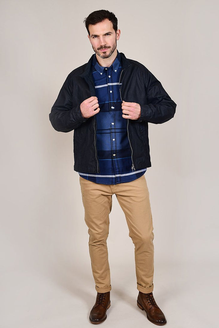 Barbour Sutherland Inky Blue Cotton Check Shirt