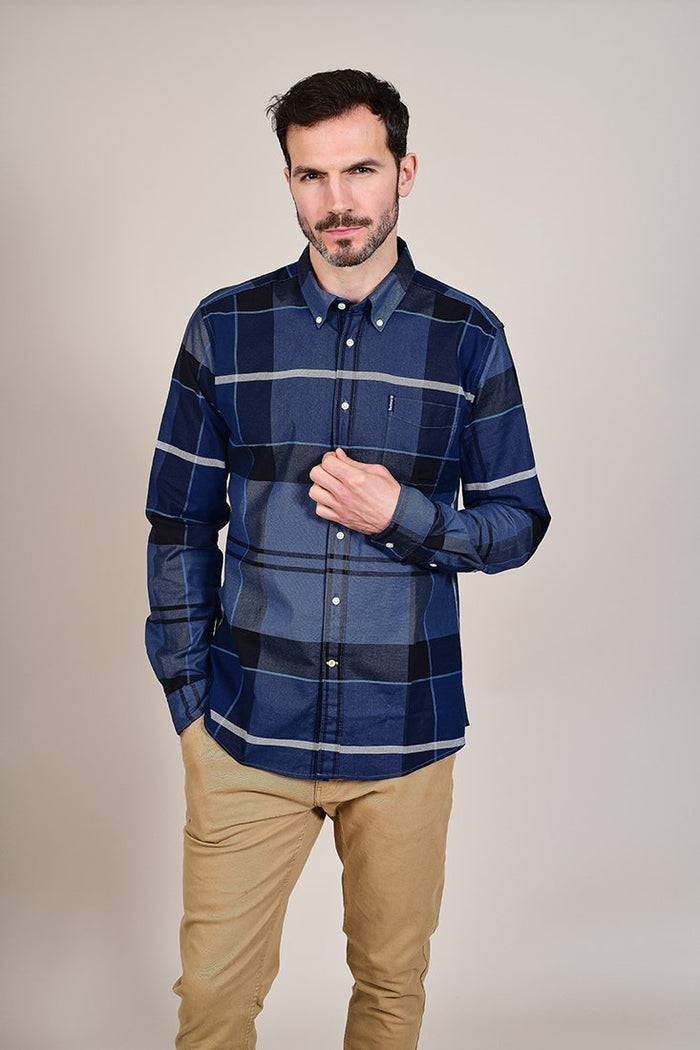 Barbour Sutherland Inky Blue Cotton Check Shirt S