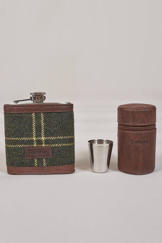 Barbour Tartan Hip Flask And Cups In Gift Box