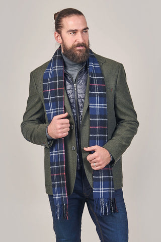 Barbour Tartan Navy and Red Lambswool Scarf