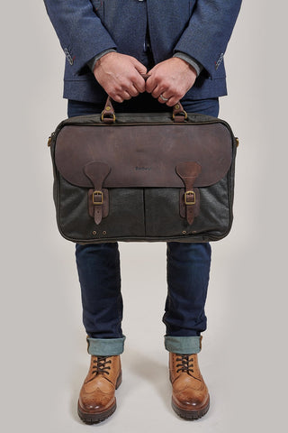 Barbour Wax Leather Olive Briefcase